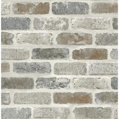 Washed Faux Brick Peel and Stick Wallpaper ...