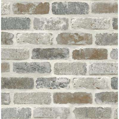 Washed Faux Brick Peel and Stick Wallpaper