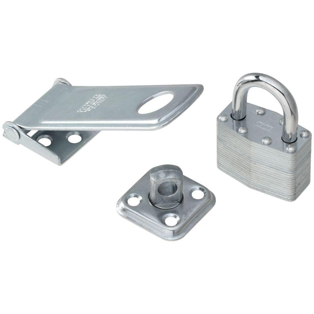 Stanley-National Hardware 1-3/4 in. x 4-1/2 in. Zinc Plate Combination Padlock and Hasp