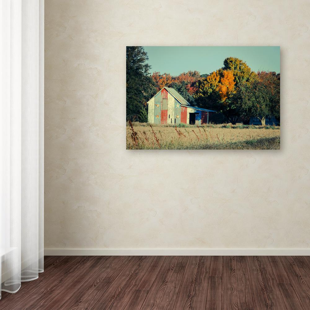 "16 in. x 24 in. ""Patriotic Barn in Field"" by PIPA"