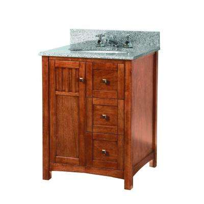 Knoxville 25 in. W x 22 in. D Vanity in Nutmeg with Granite Vanity Top in Rushmore Grey with White Sink