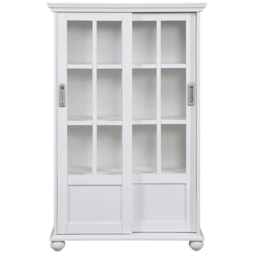 Ameriwood home abel place white glass door bookcase