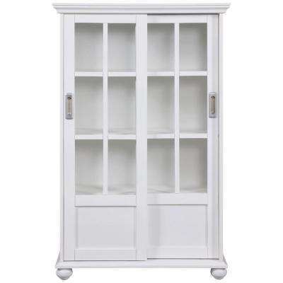 Abel Place White Glass Door Bookcase