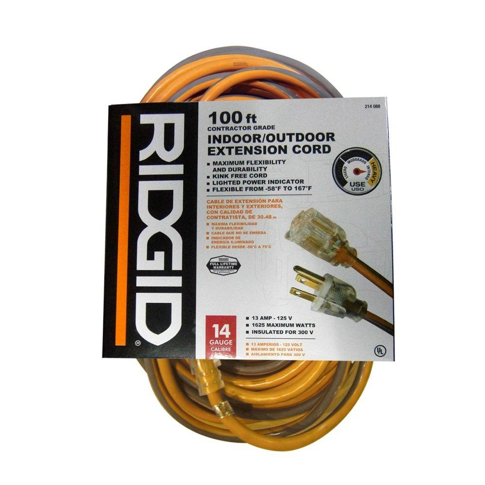 RIDGID 100 ft. 14/3 Heavy-Duty Extension Cord-AW62624 - The Home Depot