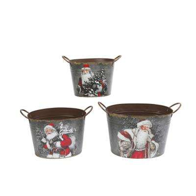 11.25 in. H Holiday Containers with Santa Design
