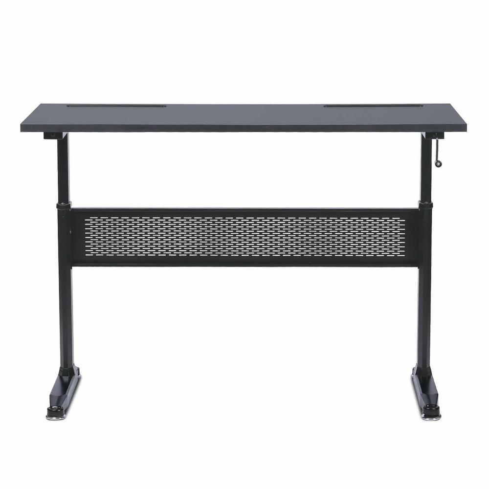 54 in. Rectangular Black Standing Desk with Adjustable Height Feature