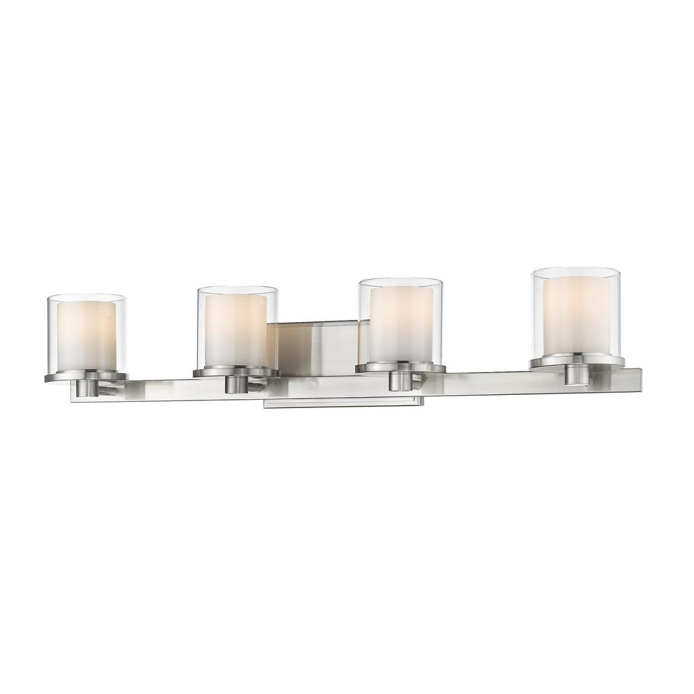 Filament Design Mira 4-Light Brushed Nickel Bath Light with Clear and Matte Opal Glass  sc 1 st  Home Depot & Filament Design Mira 4-Light Brushed Nickel Bath Light with Clear ... azcodes.com
