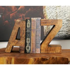 5 inch x 8 inch Brown A-Z Wooden Bookends by