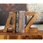 5 in. x 8 in. Brown A-Z Wooden Bookends