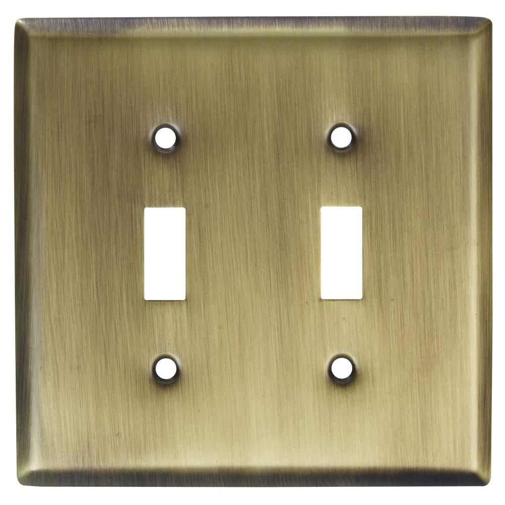 Stanley-National Hardware 2 Toggle Wall Plate - Antique Brass
