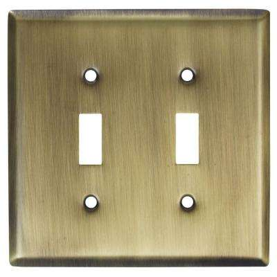2 Toggle Wall Plate - Antique Brass