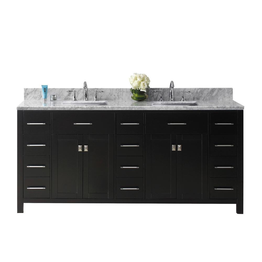 Virtu USA Caroline Parkway 72 in. W Bath Vanity in Espresso with ...