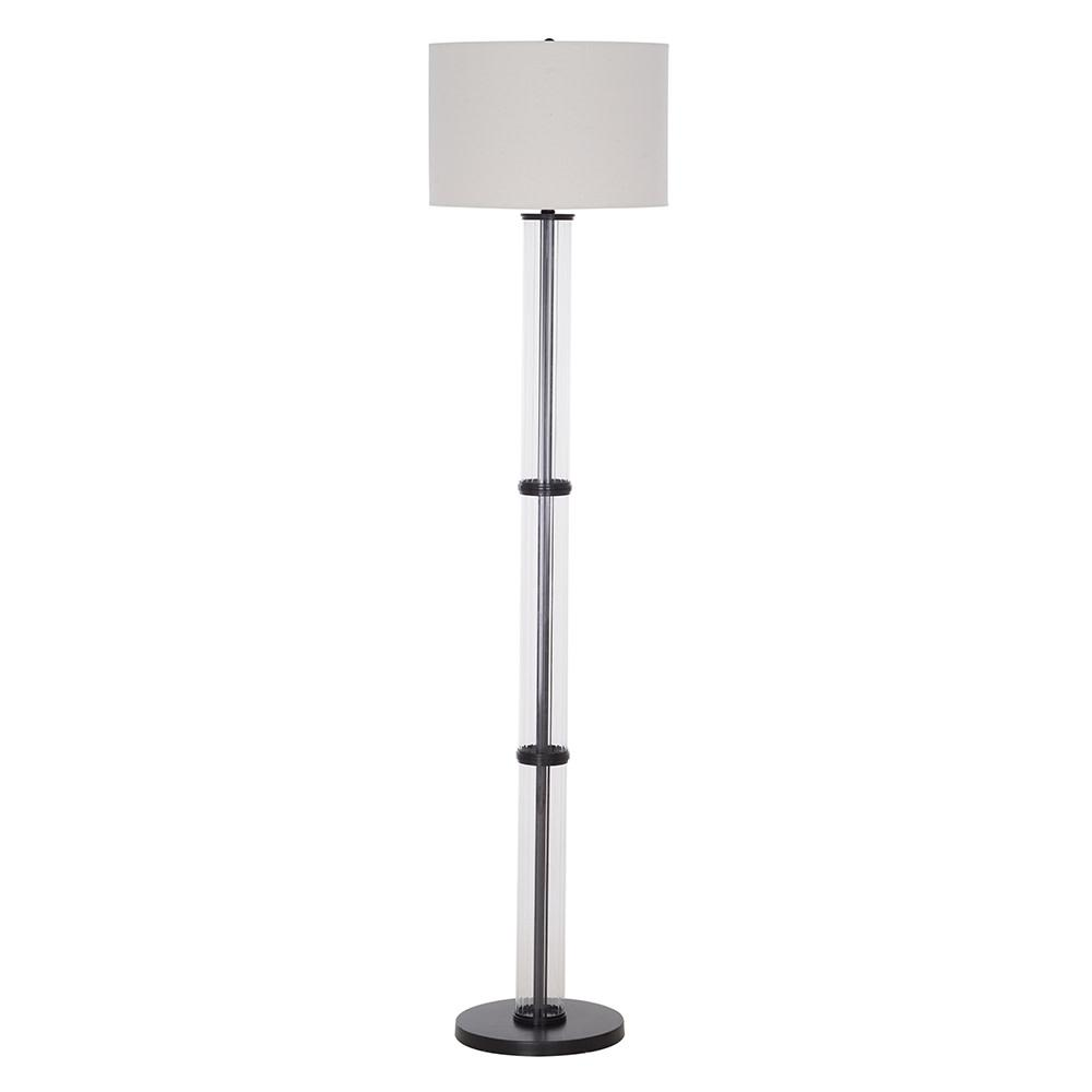 Cresswell 64.25 in. Clear Glass Bronze Finish Contemporary Floor Lamp and LED Bulb