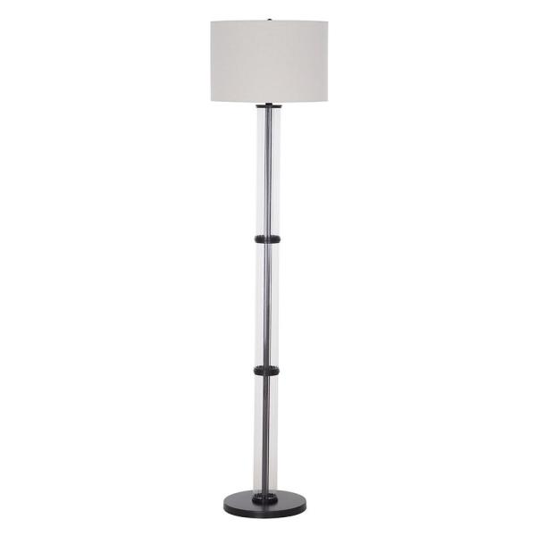 64.25 in. Clear Glass Bronze Finish Contemporary Floor Lamp and LED Bulb