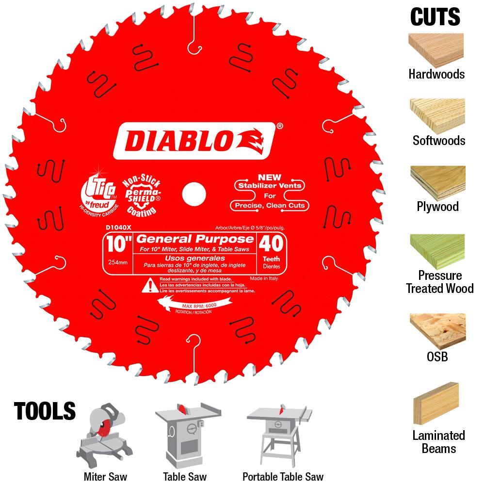 Diablo 10 in. x 40-Tooth General Purpose Saw Blade