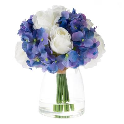 Hydrangea and Rose Floral Arrangement with Vase and Faux Water