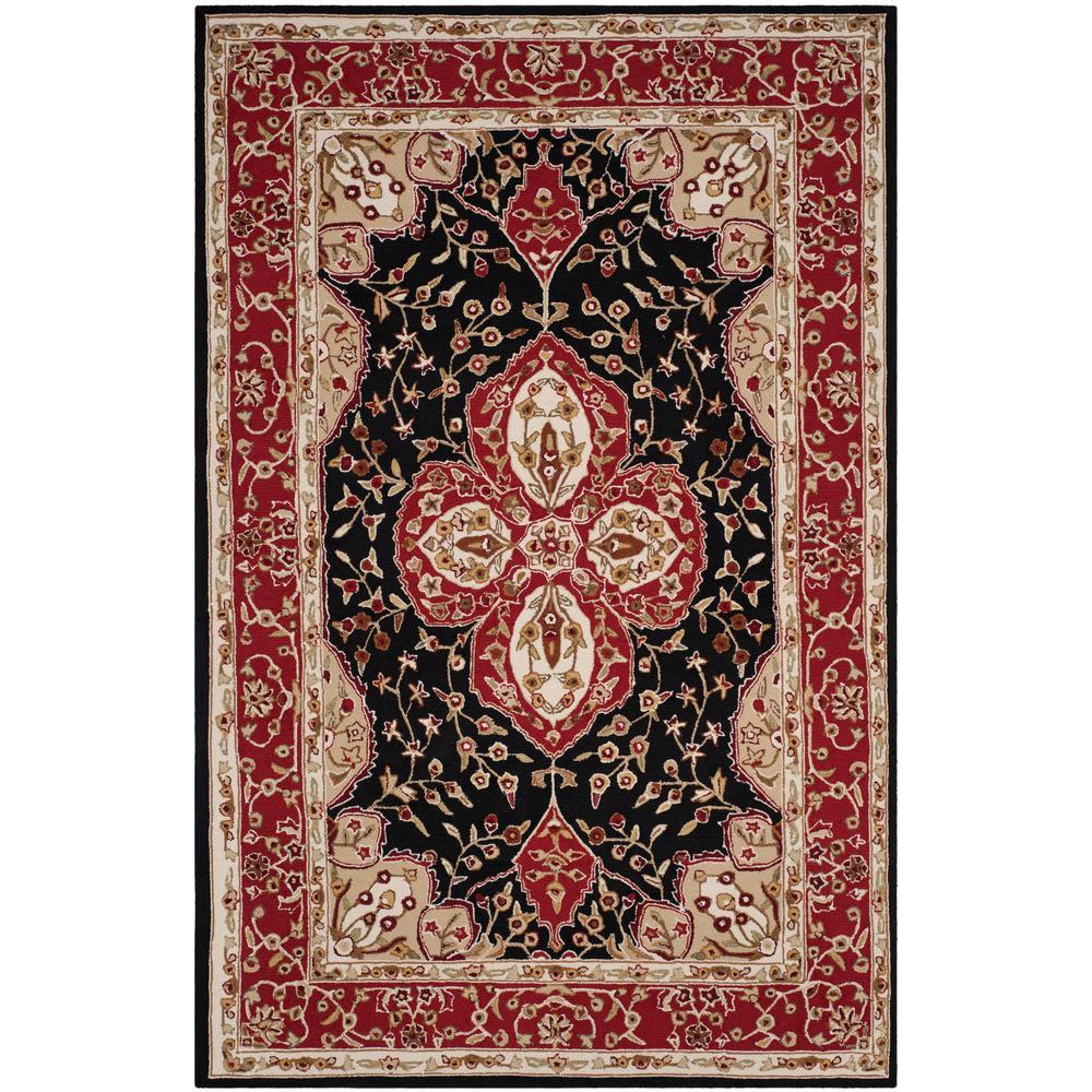 Safavieh easy care cream red 4 ft x 6 ft area rug for Easy rugs