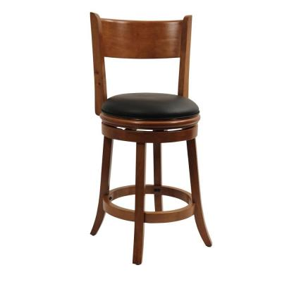 Palmetto 24 in. Fruitwood Swivel Cushioned Bar Stool