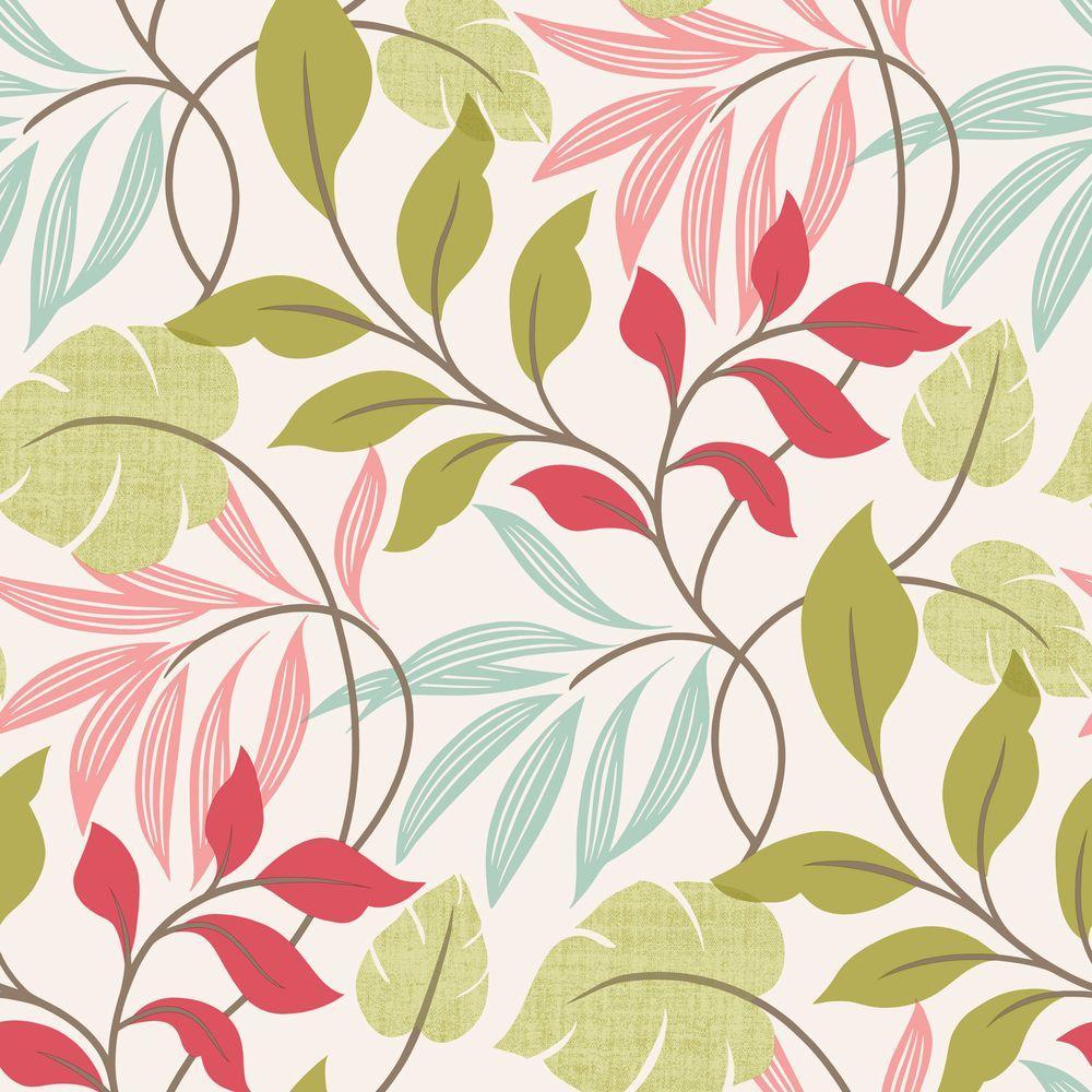 Eden Pink Modern Leaf Trail Wallpaper Sample