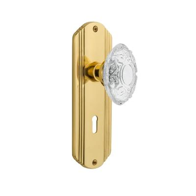 2.25 Unlaquered Brass Nostalgic Warehouse 753999 Rope Rosette with Crystal Victorian Knob Interior Mortise Backset Size
