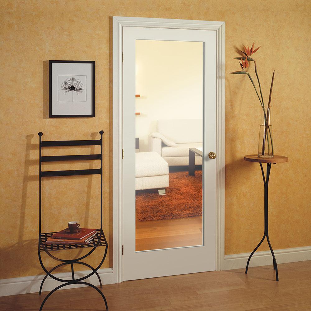 Masonite 40 In X 84 In Primed White 1 Lite Frost Solid Wood Interior Barn Door Slab