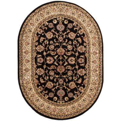 Barclay Sarouk Black 5 ft. x 7 ft. Traditional Floral Oval Area Rug