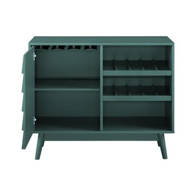 Dark Teal Wood Bar Cabinet with Louvered Door
