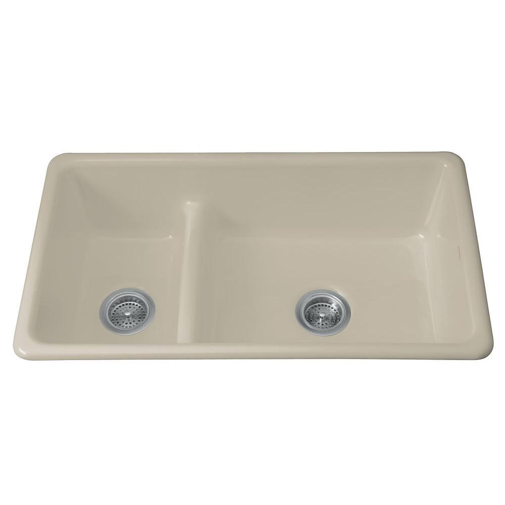 KOHLER Iron/Tones Smart Divide Drop-In/Undermount Cast-Iron 33 in. Double Bowl Kitchen Sink in Sandbar