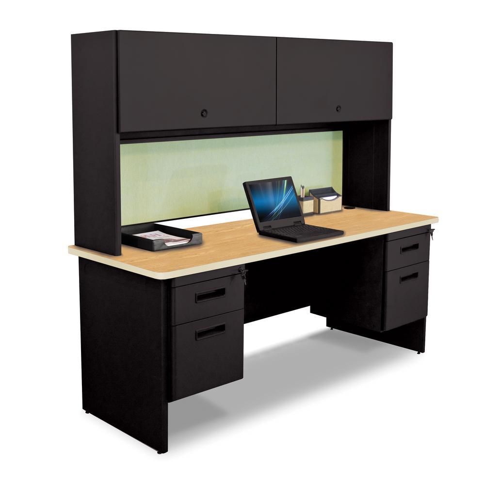 72 in. W x 24 in. D Black and Oak Peridot 72 in. Double File Desk Credenza Including Flipper Do or Cabinet