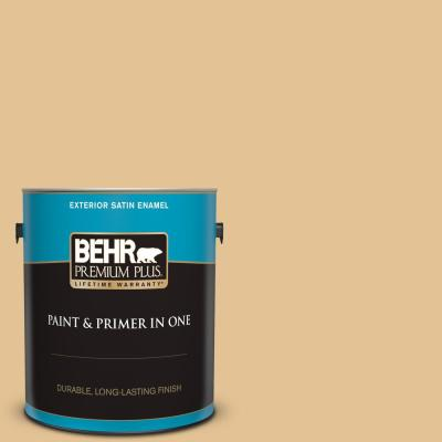Behr Premium Plus 1 Gal 270b 4 Apricot Flower Satin Enamel Exterior Paint And Primer In One 940001 The Home Depot