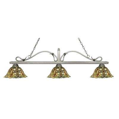 Evelyn 3 Light Antique Silver Island Light With Tiffany Glass Shades
