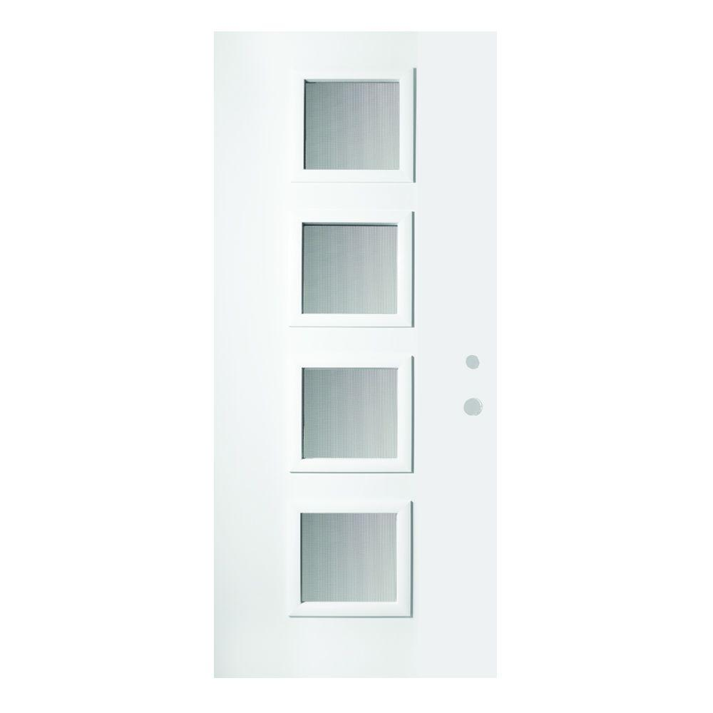 Stanley Doors 36 in. x 80 in. Evelyn Screen 4 Lite Painted White Left-Hand Inswing Steel Prehung Front Door
