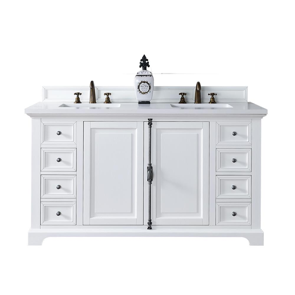 Providence 60 In W Double Vanity Cottage White With Quartz Top Basin