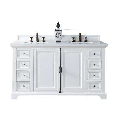Providence 60 in. W Double Vanity in Cottage White with Quartz Vanity Top in White with White Basin