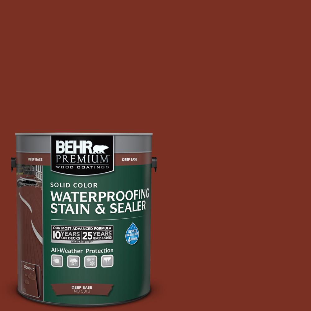Behr Premium 1 Gal Sc 330 Redwood Solid Color Waterproofing Exterior Wood Stain And Sealer