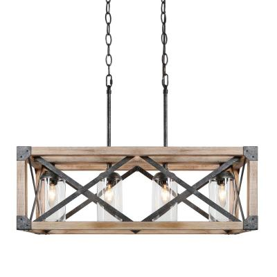 Mari 27.5 in. 4-Light Black Rustic Farmhouse Walnut Wood Cage Island Chandelier with Modern Crystal Clear Cylinder Shade