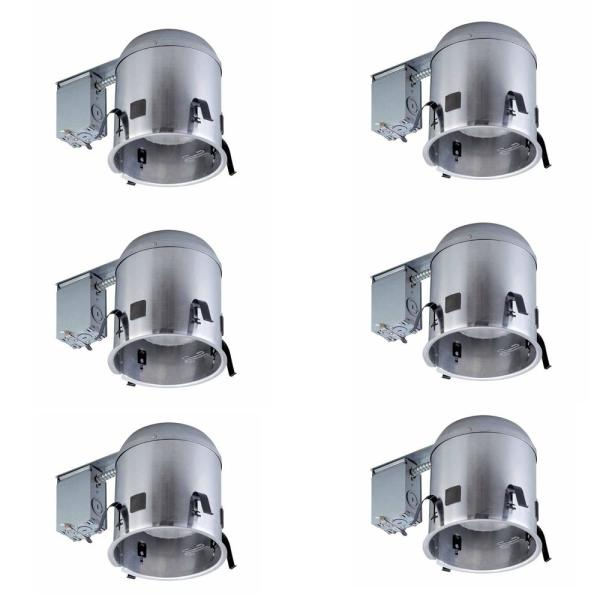 Commercial Electric 6 In Aluminum Remodel Ic Recessed Can Light Airtight Housing 6 Pack Per Case Cat7icrat 6pk The Home Depot