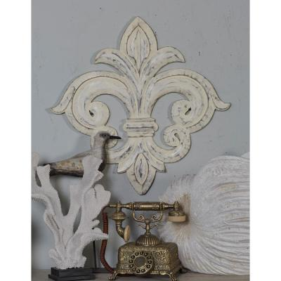 French-Inspired Whitewashed Fleur-de-Lis Wooden Wall Art