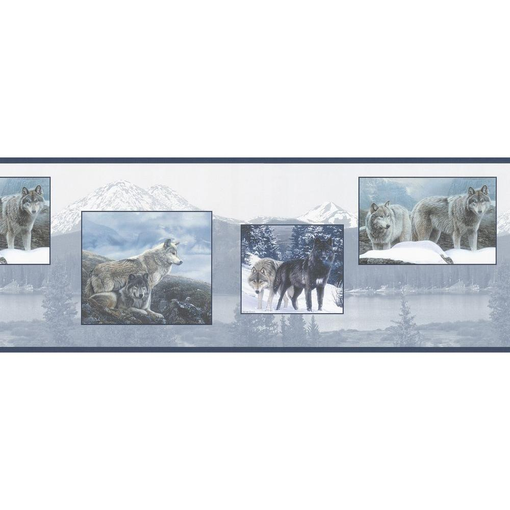 Brewster Multi Color Scenic Wolf Wallpaper Border Sample