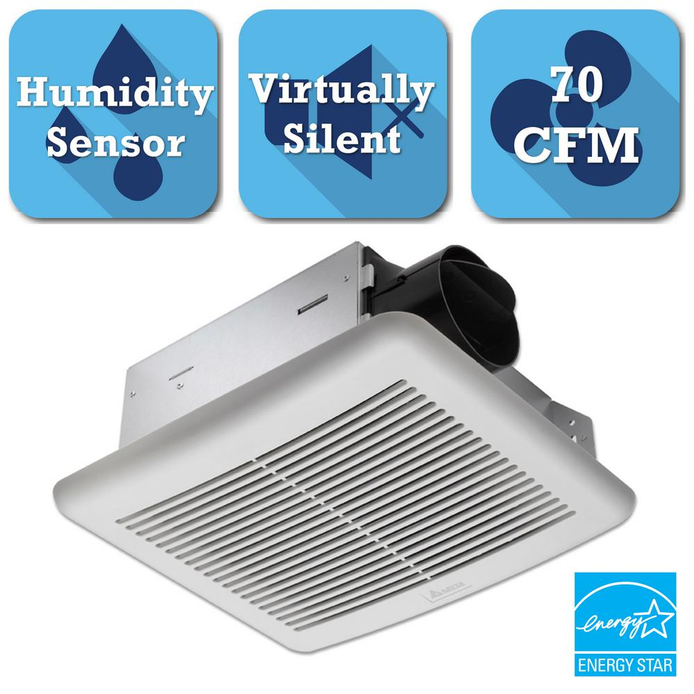 Delta breez slim series 70 cfm ceiling bathroom exhaust fan with humidity sensor slm70h the Humidity activated bathroom fan
