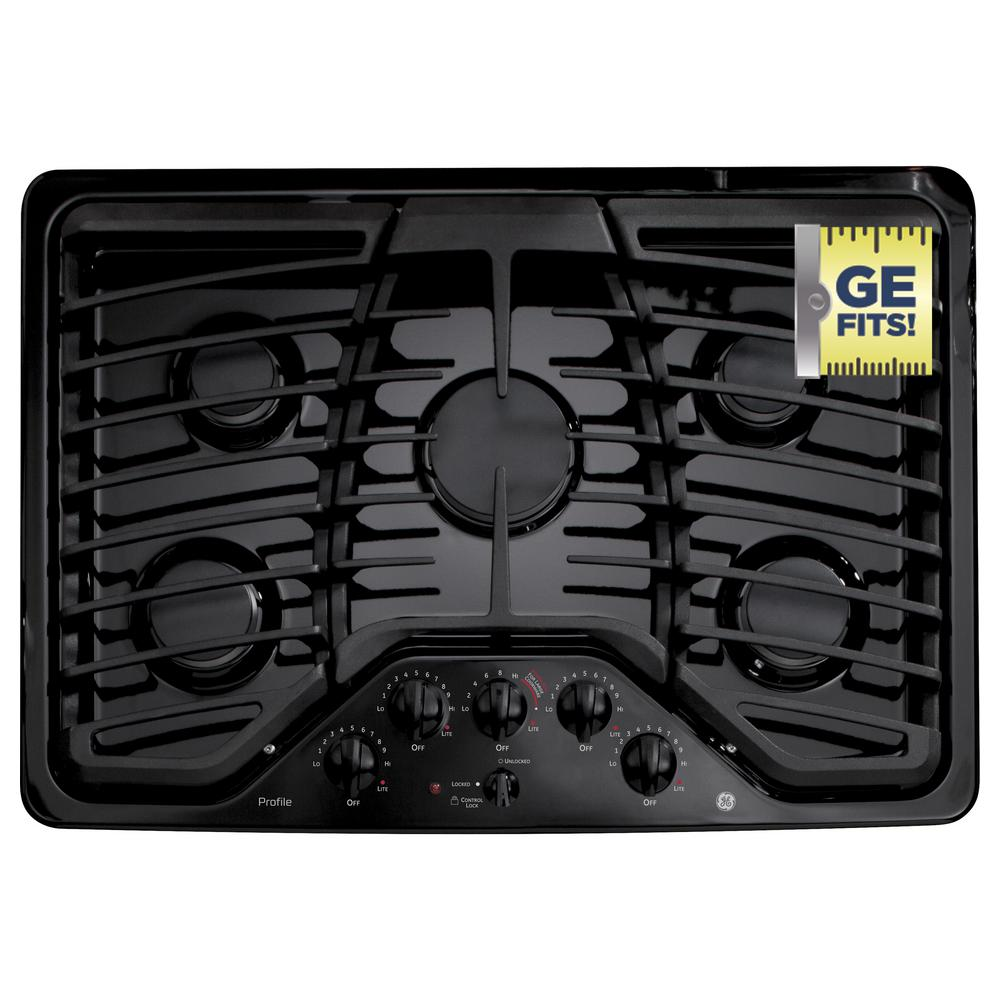 GE Profile 30 in. Gas Cooktop in Black with 5 Burners including 1 Power Boil