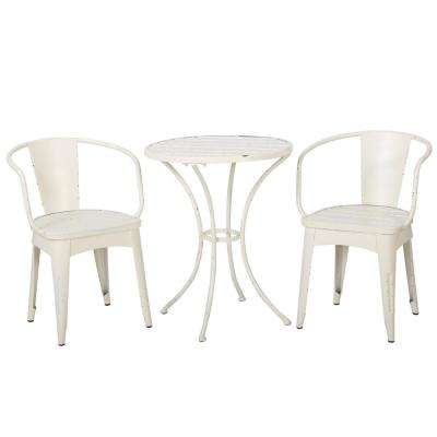 Arielle Shabby White 3-Piece Metal Round Outdoor Bistro Set