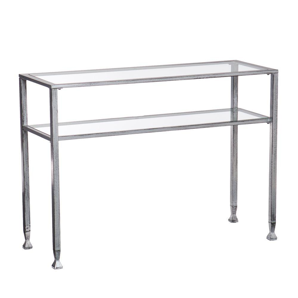 Southern Enterprises Silver And Black Distressed Glass Top Console Table