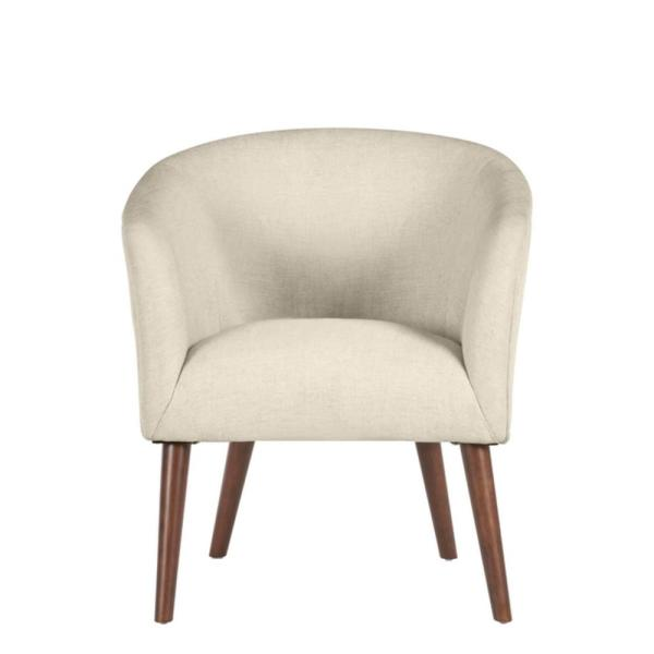 Paxton Walnut Beige Wood Accent Chair with Evere Biscuit Beige Upholstery (27.56 in. W x 30.71 in. H)