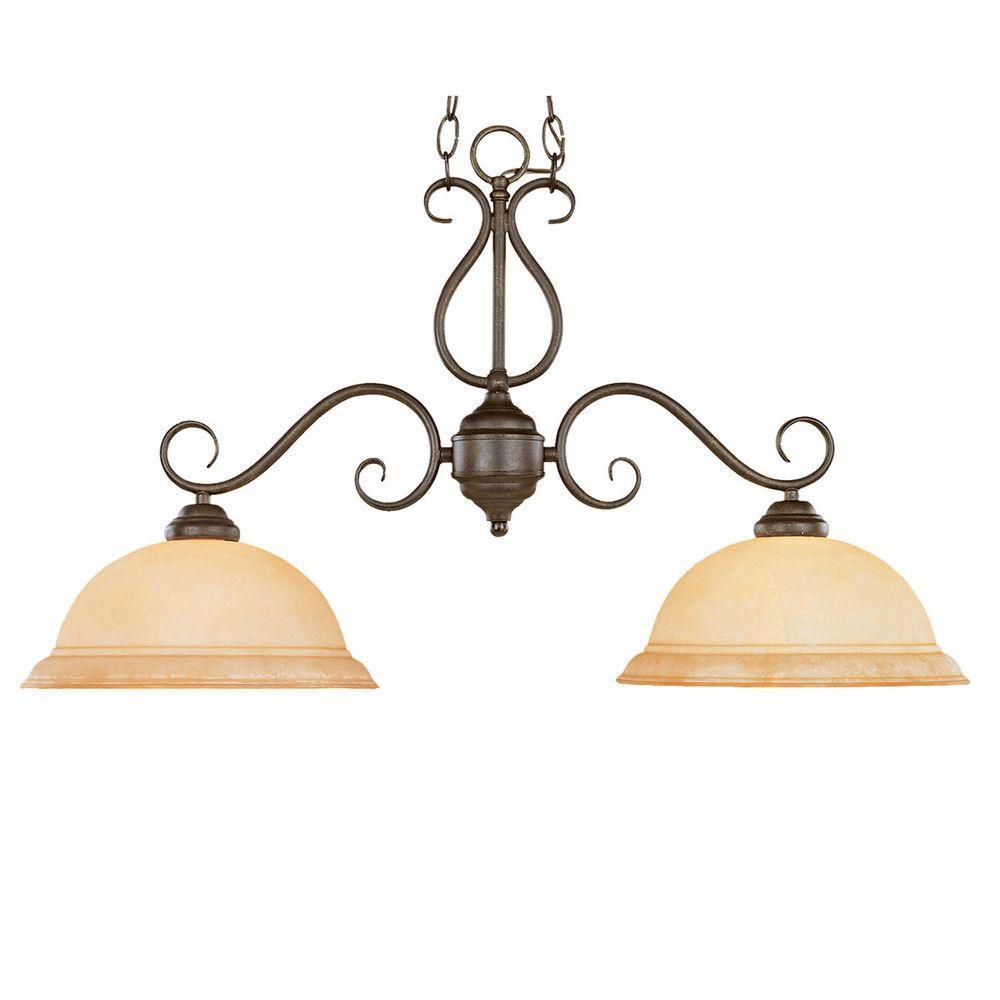2-Light Burnished Gold Island Light with Turinian Scavo Glass