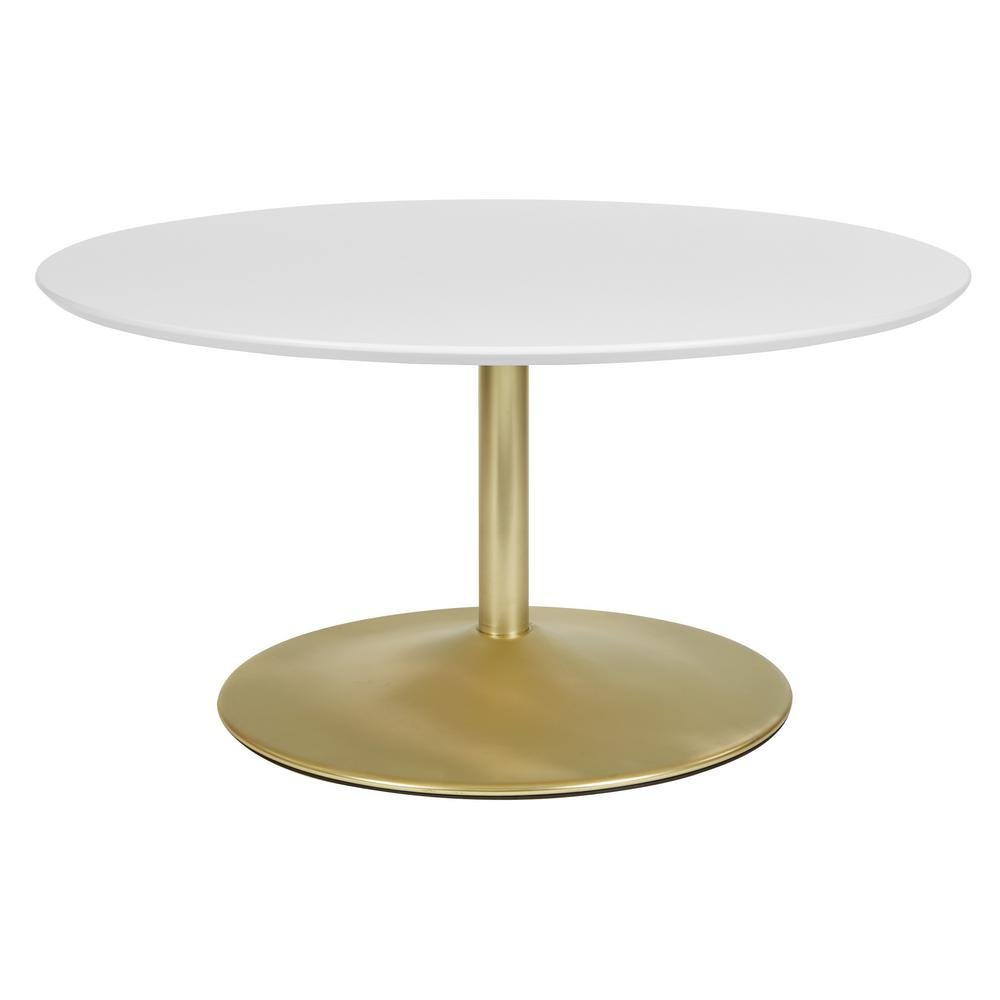 OSP Home Furnishings Flower 36 in. White/Brass Medium Round Wood Coffee Table OSP Home Furnishings Flower 36 in. White/Brass Medium Round Wood Coffee Table.
