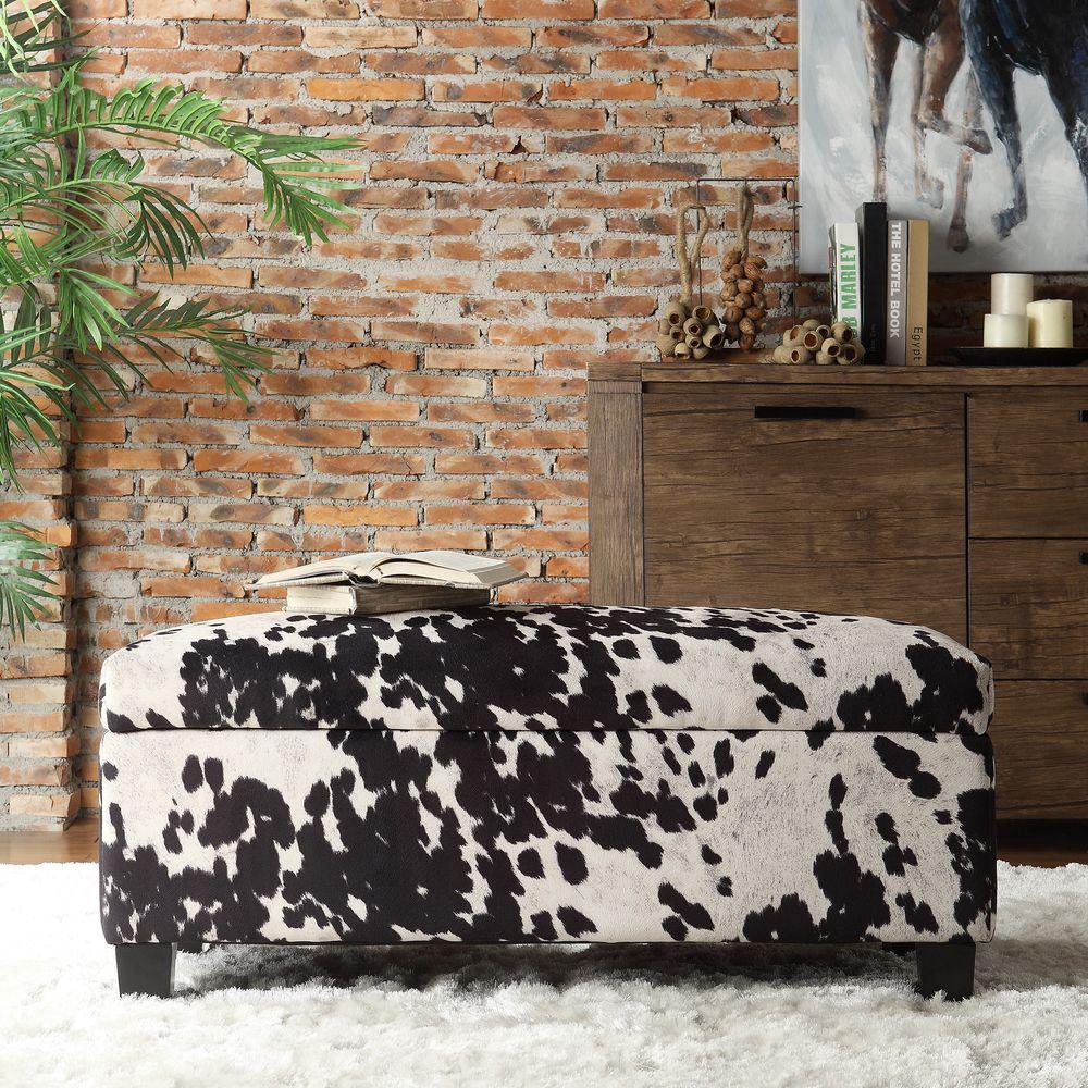 Putnam Textured Black Cowhide Print Storage Bench