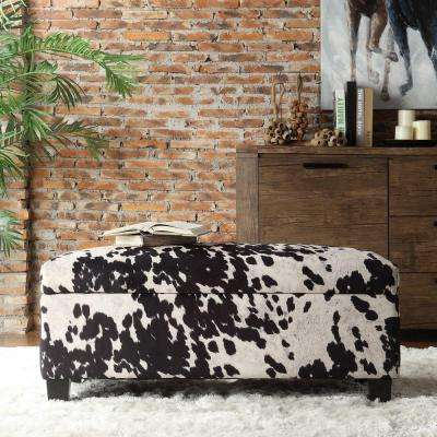 Putnam Textured Black Cowhide Print Storage Bench