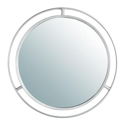24.02 in. H x 24.02 in. W Modern Small Round Framed Silver Gothic Iron Glass Mirror