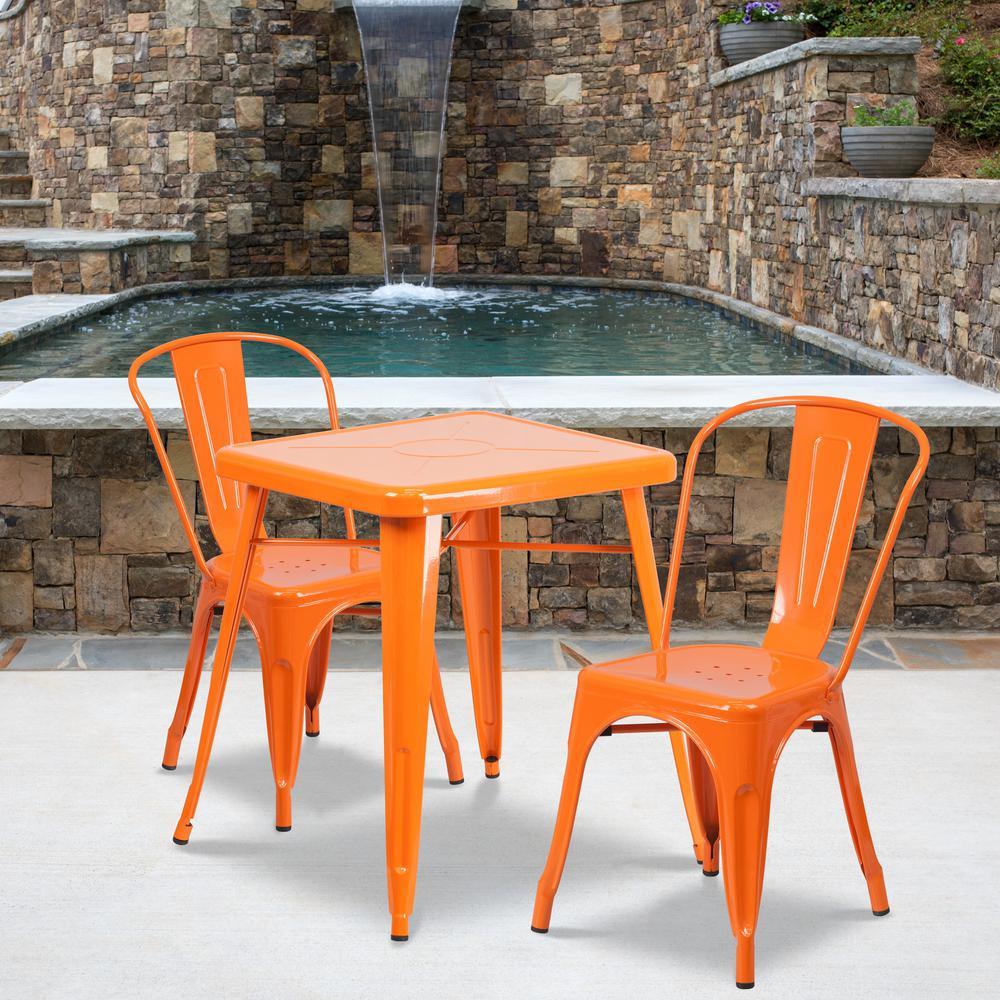 Orange 3-Piece Metal Square Outdoor Bistro Set